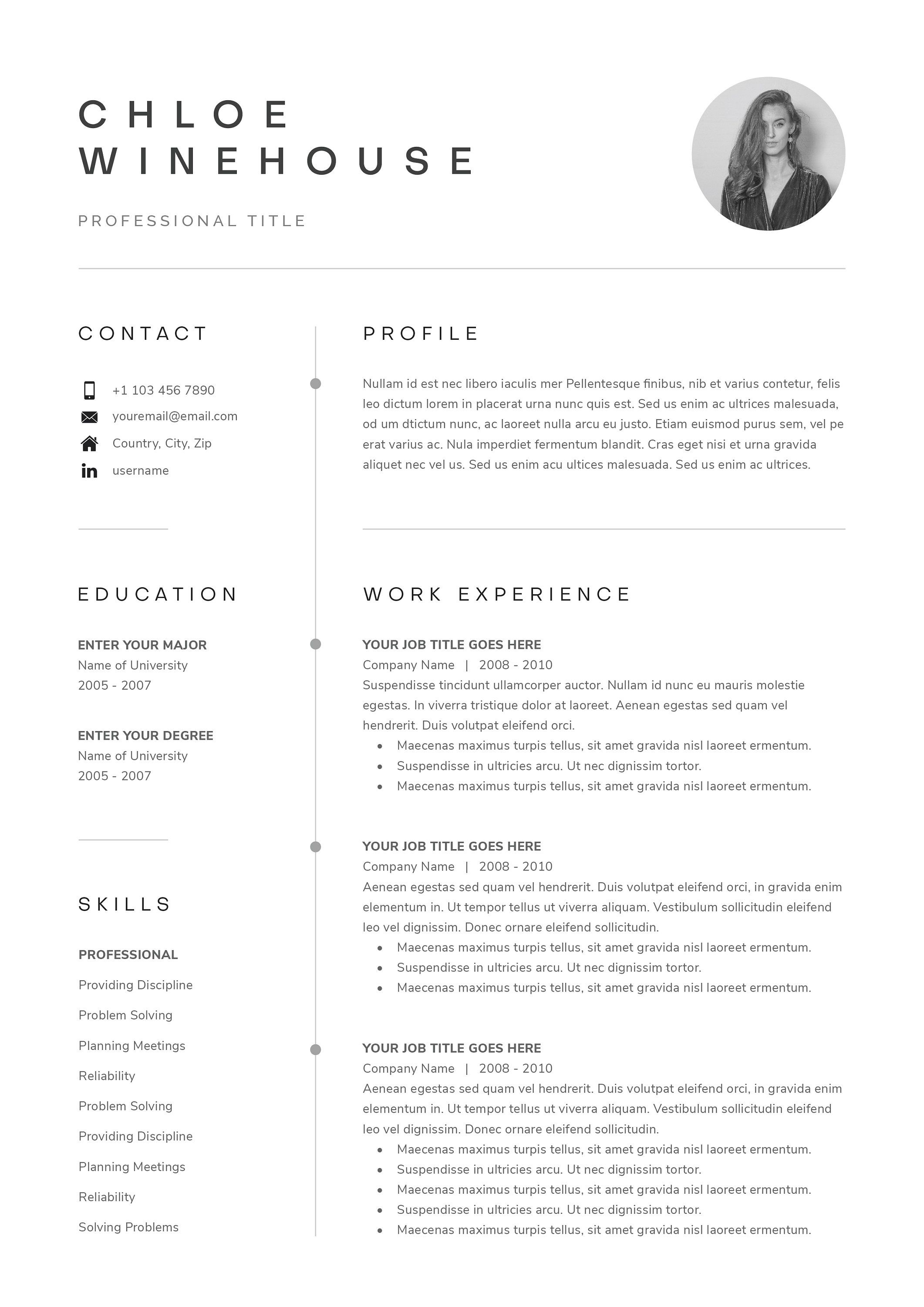 Resume Template Resume Template Word Resume With Picture Etsy Resume Cover Letter Template Resume Template Resume Template Word