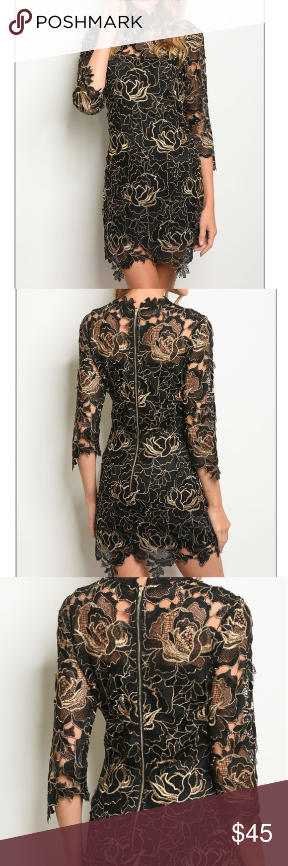 06d3053713 BLACK GOLD LACE DRESS Boutique items Price is firm Long sleeve mock neck  all over lace bodycon dress. Fabric Content  100% POLYESTER Size S  Length  34