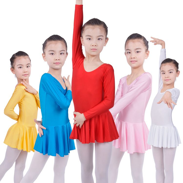 Kids Girls Long Sleeve Leotard Ballet Dance Tutu Dress Costumes Dance Wear