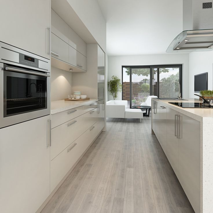 Light Wooden Floor White High Gloss Kitchen Cabinets