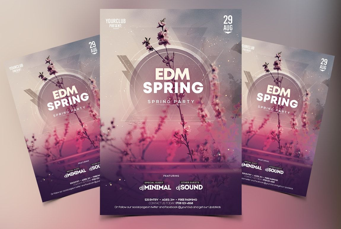 Download EDM Spring PSD Flyer Template for free  This flyer