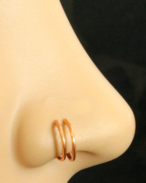 Non Pierced 14k Rose Gold Nose Ring Double Hoop Fake Nose Ring
