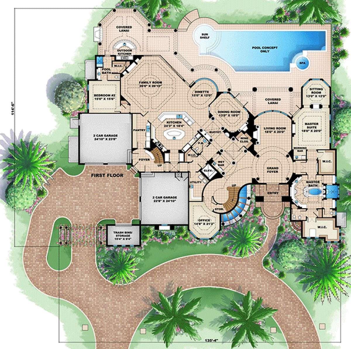 House Plan 1018 00197 Florida Plan 9 202 Square Feet 5 6 Bedrooms 6 Bathrooms Beach House Flooring Mediterranean Style House Plans Home Design Floor Plans