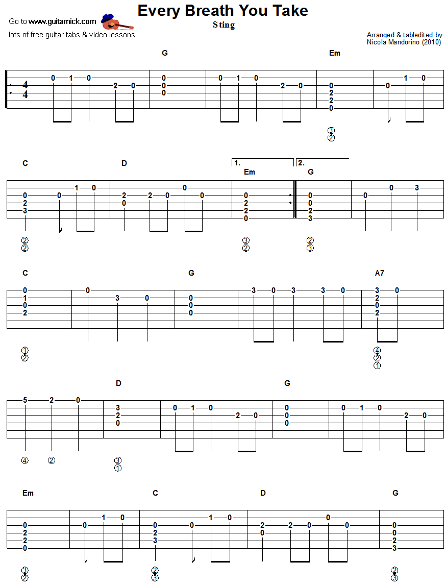 Every Breath You Take Guitar Tab With Melody And Chords Guitar Tabs Acoustic Guitar Tabs Guitar Tabs Songs