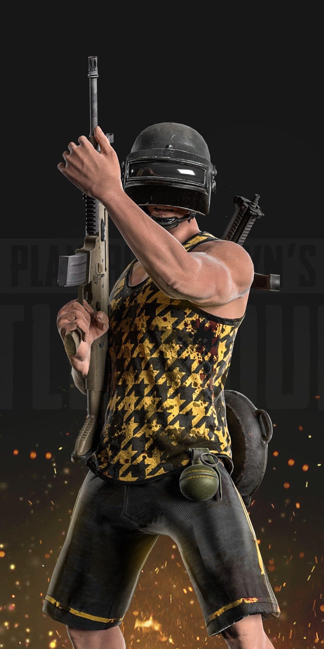 PUBG, video game, helmet guy in shorts, 1080x2160