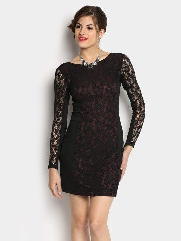 458c4925b7de Buy Only Women Only Women Black   Maroon Lace Bodycon Dress online India