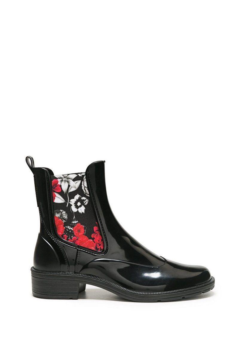 75b4bba8d67ab2 Desigual Damen Lack Stiefeletten Mid Rain Boot