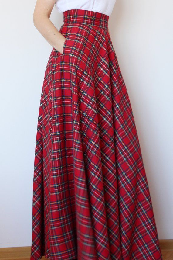 Red tartan maxi skirt Red plaid maxi skirt Red  maxi skirt with pockets Red long skirt Red long plaid skirt  Long woman skirt Maxi Skirt