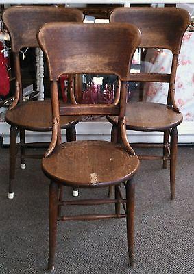 Three Circa 1930 Thonet Style Oak Bentwood Chairs Chair