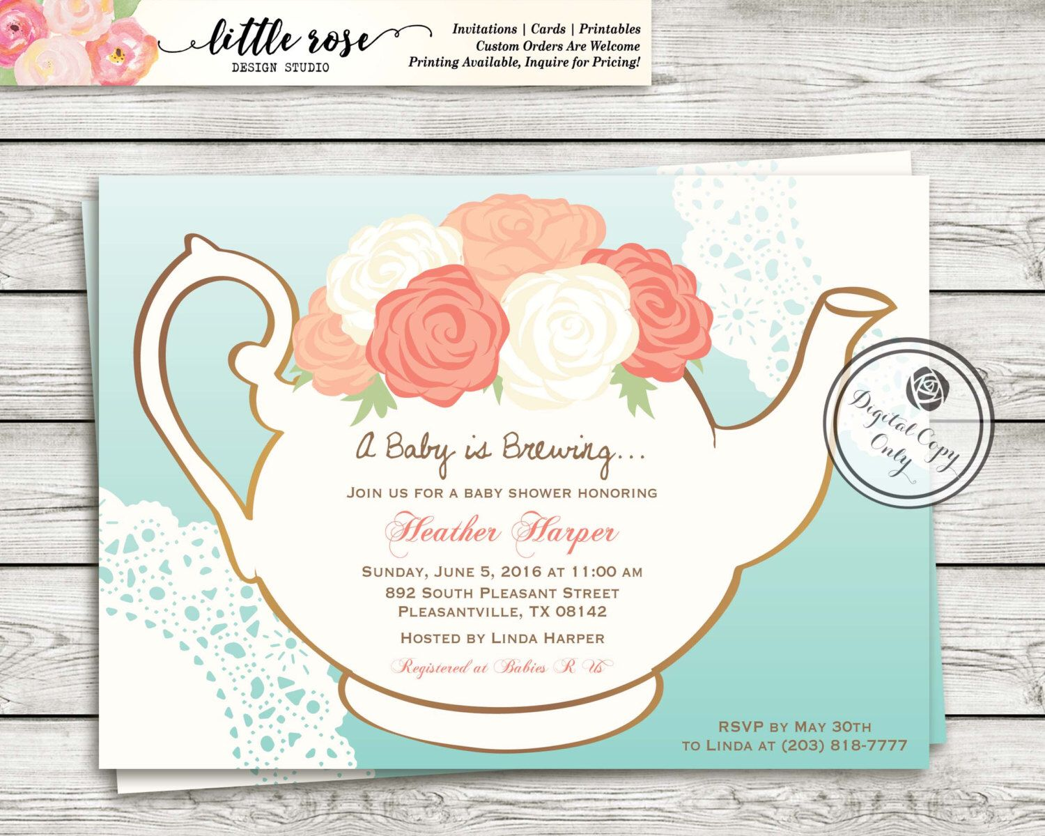 Garden Tea Party Baby Shower Invitation - A Baby is Brewing Invite ...