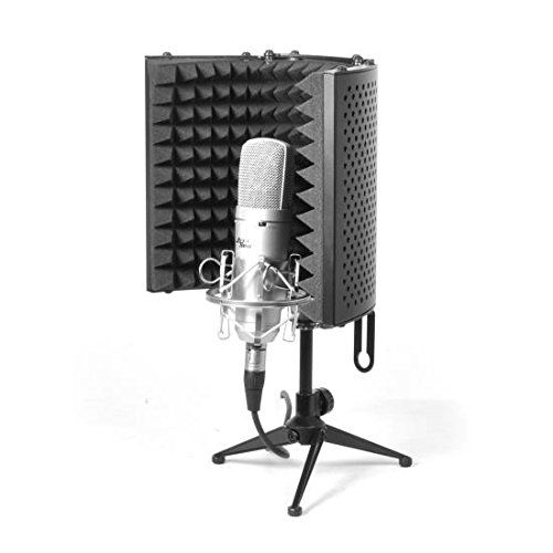 nice pyle psmrs08 compact microphone isolation shield studio mic sound dampening foam reflector