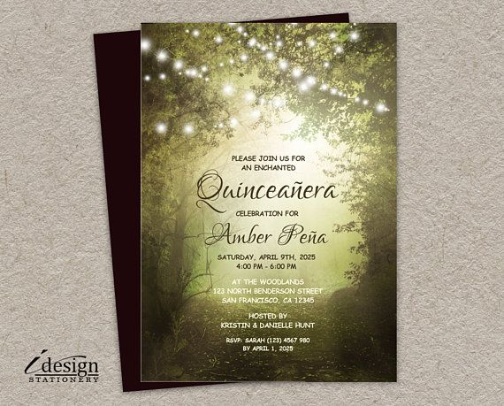 Quinceanera invitation printable enchanted forest quinceaera quinceanera invitation printable enchanted forest quinceaera invitations xv aos invites fairy lights quince stopboris Images