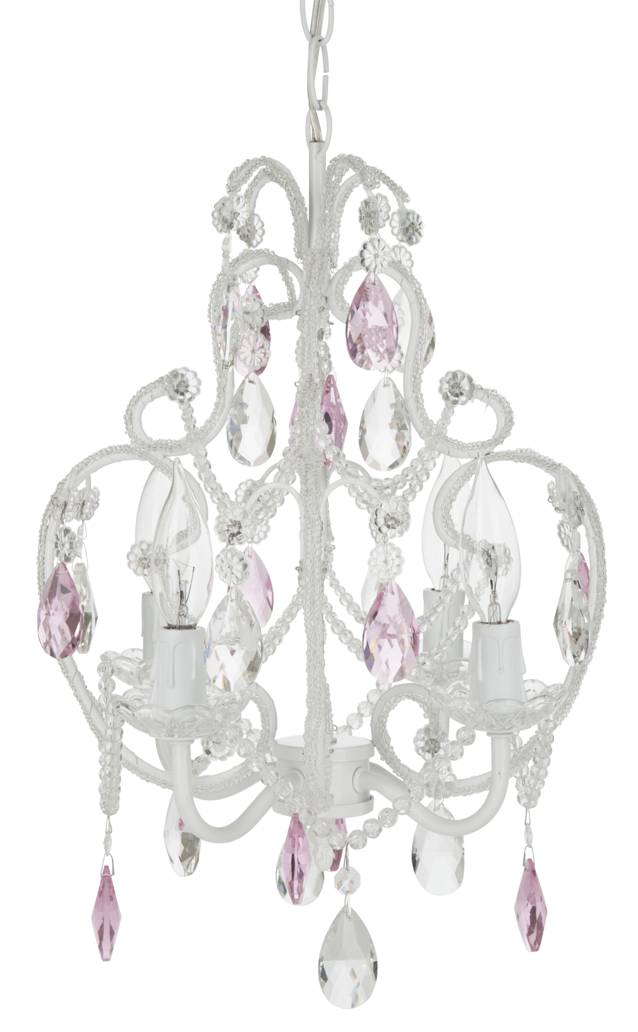 4 Light Beaded Crystal Plug In Chandelier White W Pink Crystals