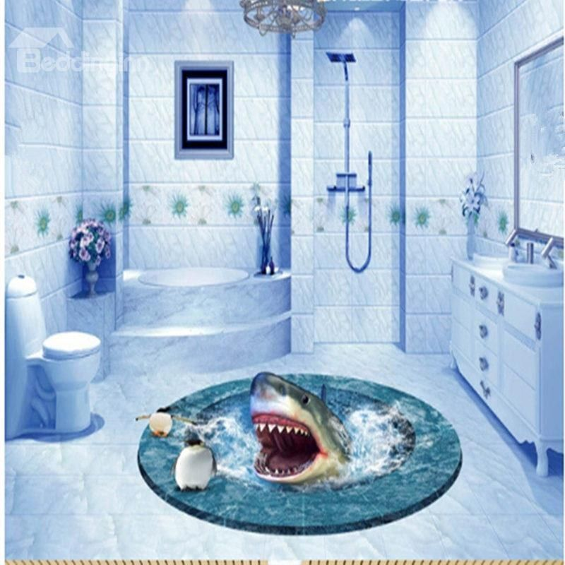 Shark In Sea With White Edges Pattern Pvc Waterproof And Eco Friendly Floor Murals