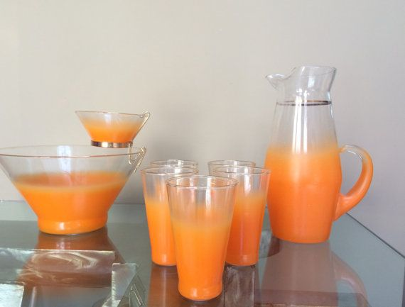 Vintage Blendo Frosted Party Orange and Clear by huntergathererbiz