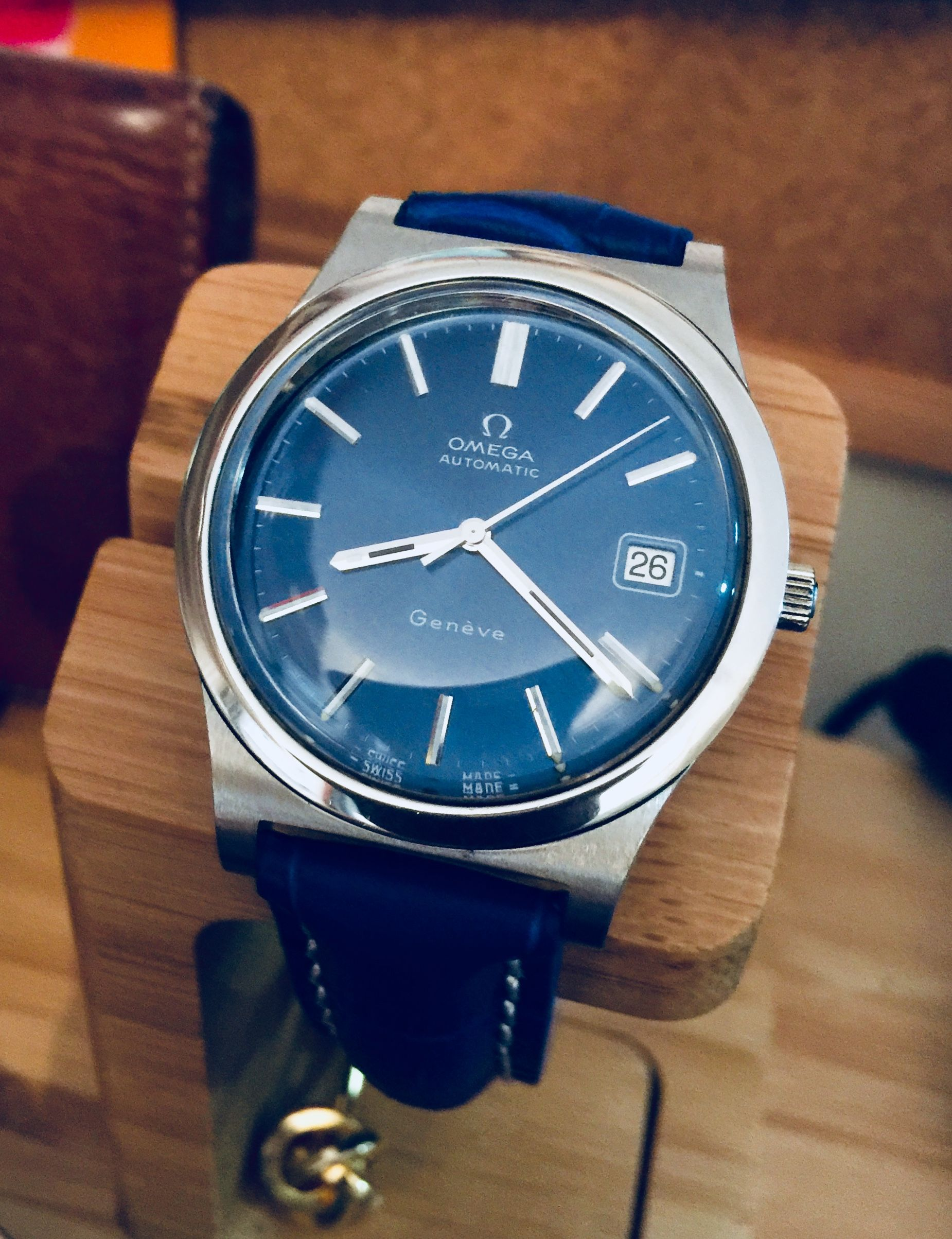 c4f89d4a0ff Omega men s Geneve blue dial 1970s Cal 1012 Armani Watches For Men
