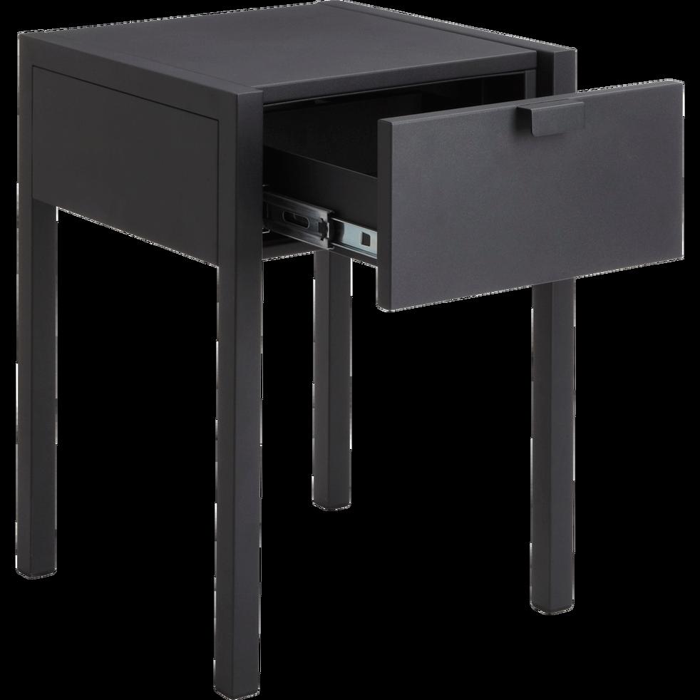 Table De Chevet En Acier Noir 1 Tiroir Anvers Table De Chevet Tiroir Acier Noir