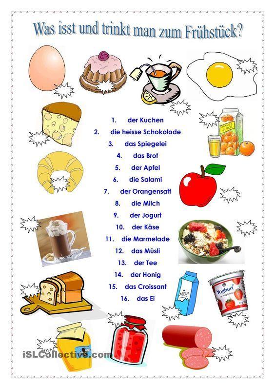 Was kann man zum Frühstück essen und trinken | Frei DAF worksheets ...