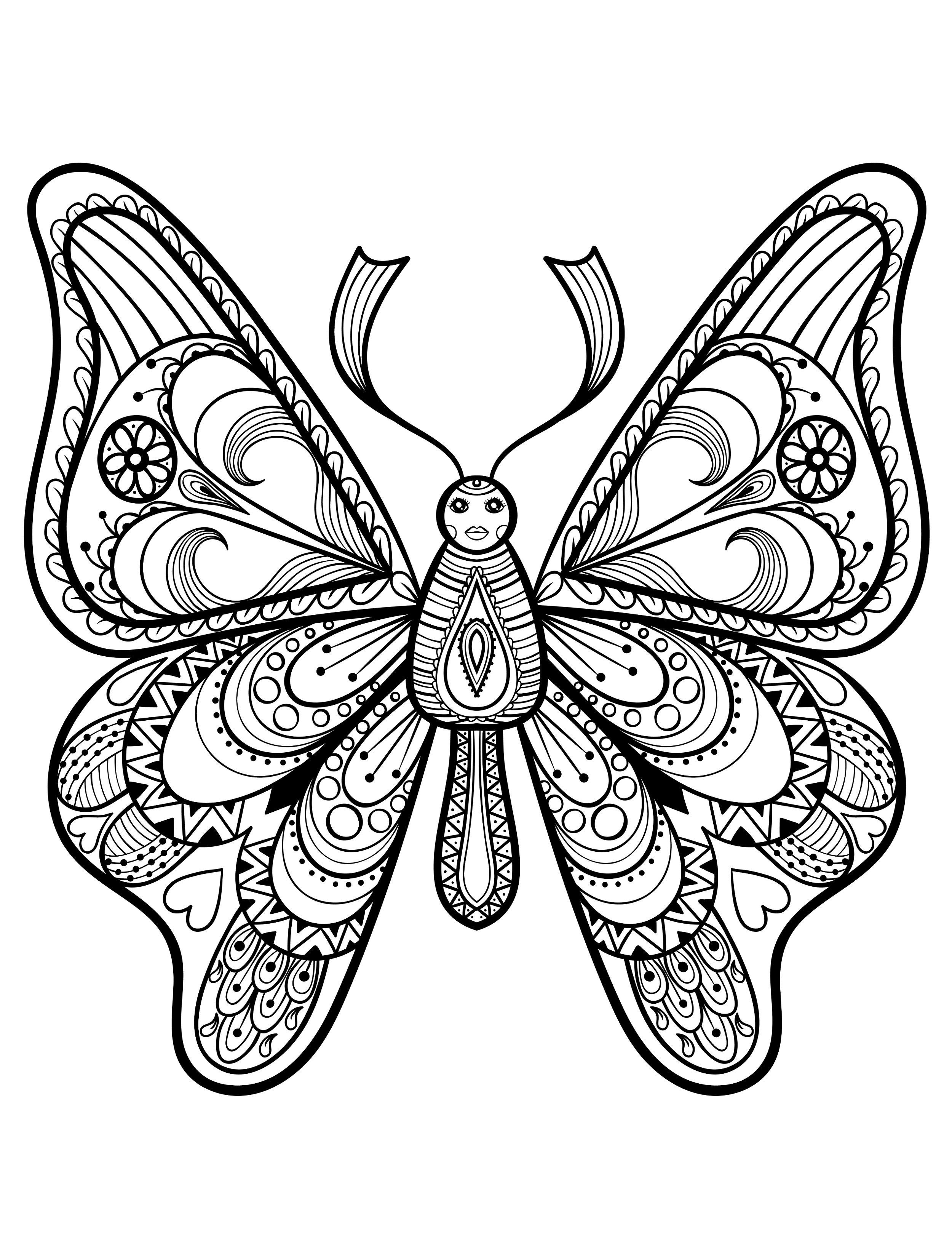 pretty coloring pages for adults with butterflies pic | butterflies