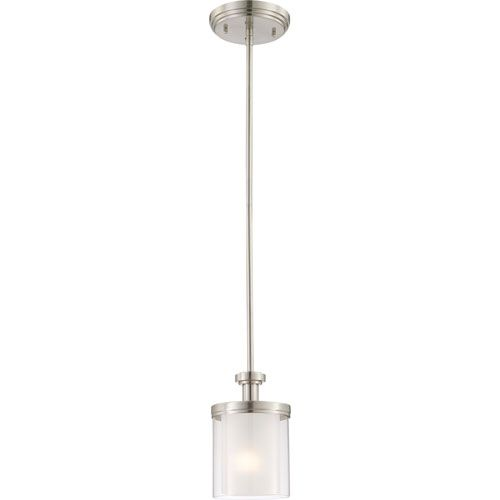 Nuvo Lighting Decker Brushed Nickel Mini Pendant W Clear Frosted