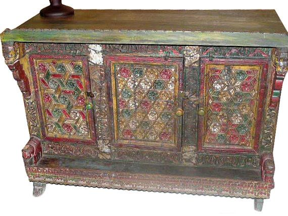 Antique Jaipur Colorful Floral Sideboard Buffet Chest $1,149.00