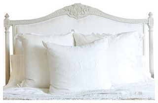 Louis Xvi French Country White Cotton Upholstered Headboard Queen Farmhouse Headboards By Kathy Kuo Home