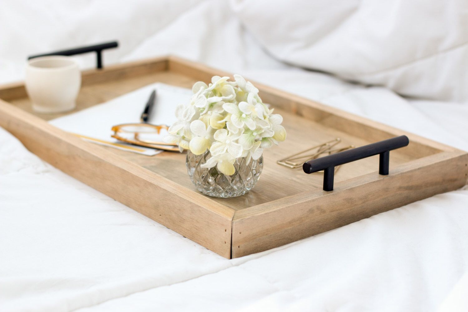 Serving Tray Wood Breakfast Housewarming Gift Bed Table