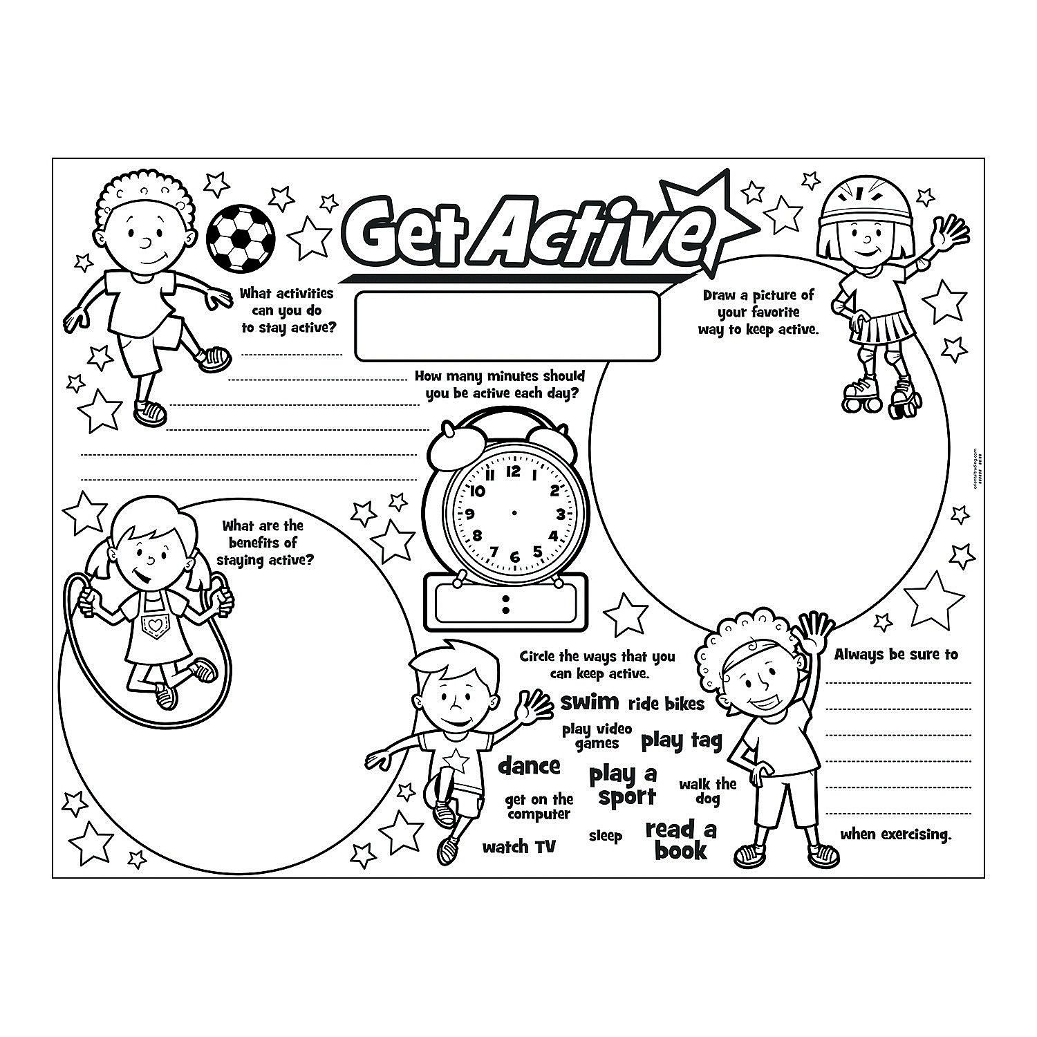 Color Your Own All About Being Active Posters