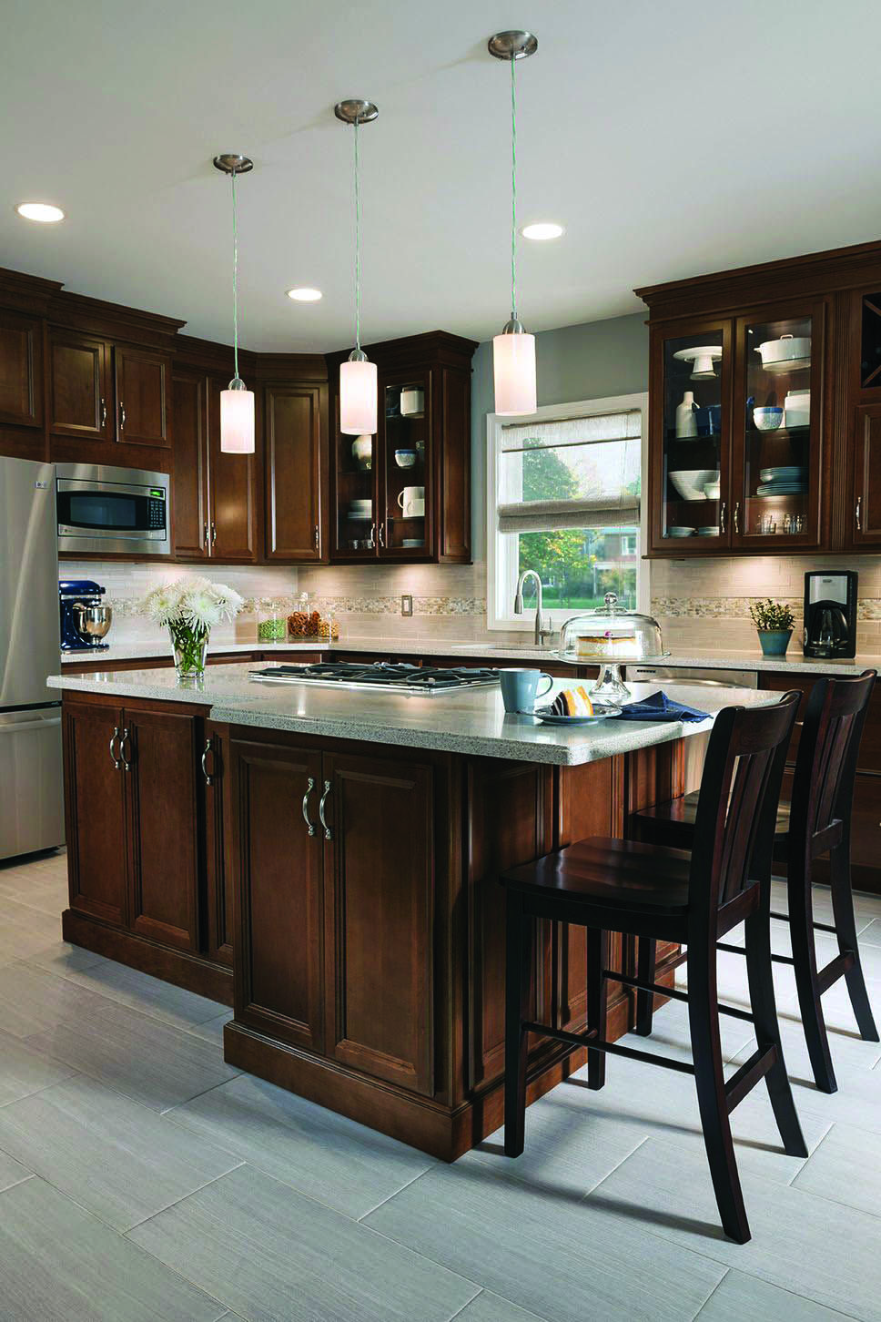 Most Popular Cherry Kitchen Cabinets With Tile Floor For 2019 Cherry Cabinets Kitchen Kitchen Renovation Tuscan Kitchen