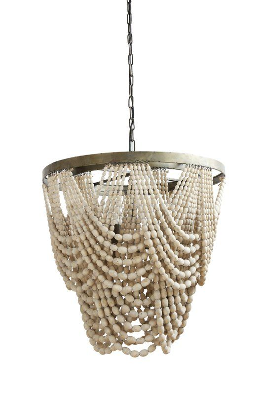 Elegantly Dd Chandelier Metal Base With Wood Beads Round X Bead W 3 Lights Chain Cord