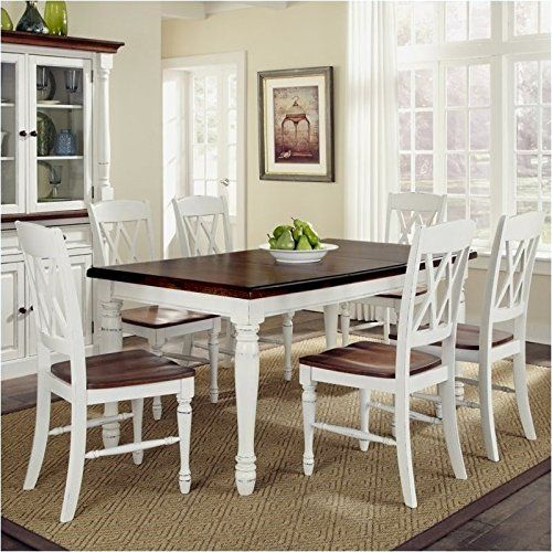 Marvelous Bowery Hill 7 Piece Dining Set In White And Oak