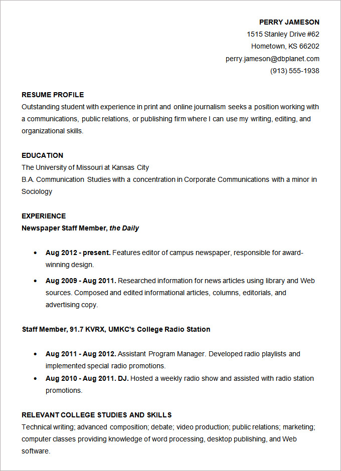 Resume Templates College Student 4 Templates Example Templates Example