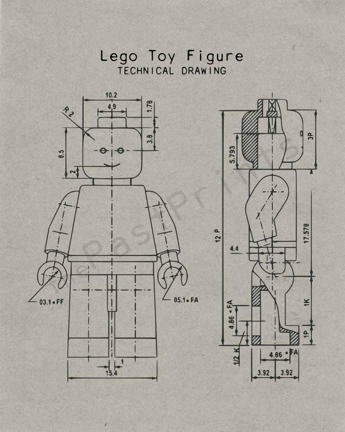 Lego Printable  Lego Figure Techincal Drawing  Lego Art  Lego Print  Lego Poster ...