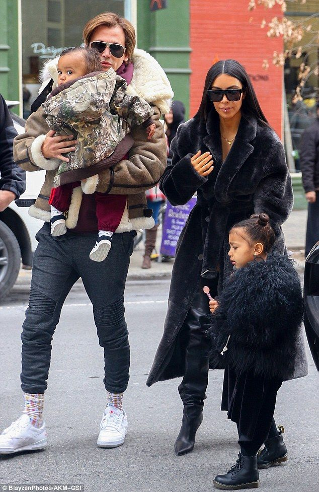 e87bb15b8e9840 Fantastic four  Kim Kardashian headed to lunch in New York City with her  kids North and Saint West along with BFF Jonathan Cheban on Wednesday