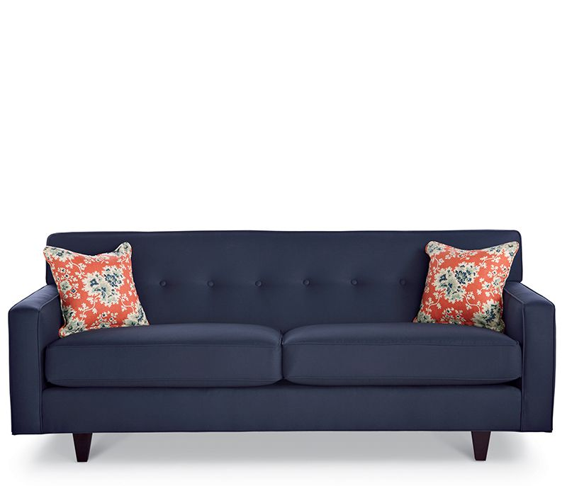 Draper Avery Sofa   This Tufted, Tight Back Sofa Offers High Style With Low  Maintenance. Shown In Navy With Contrasting Toss Down Blend Toss Pillows  And ...