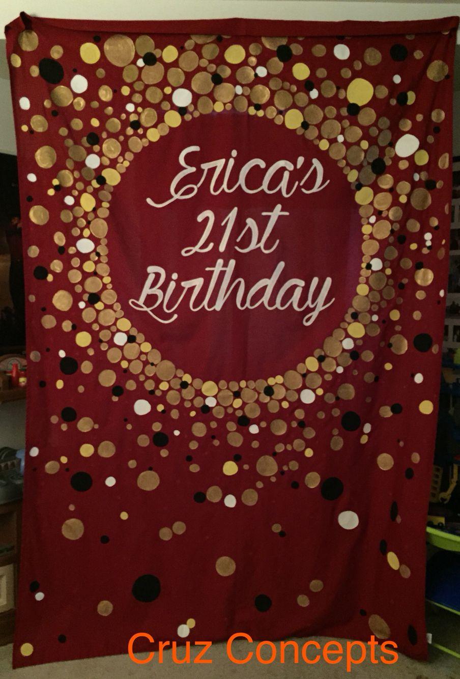 Red Black Gold White Circles Birthday Modern Banner Backdrop 21st Black Banner Birthday Backdrop Banner Backdrop