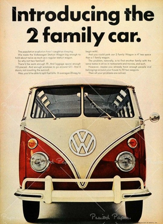 ad volkswagen station wagon bus   reads  population explosion hasnt caught
