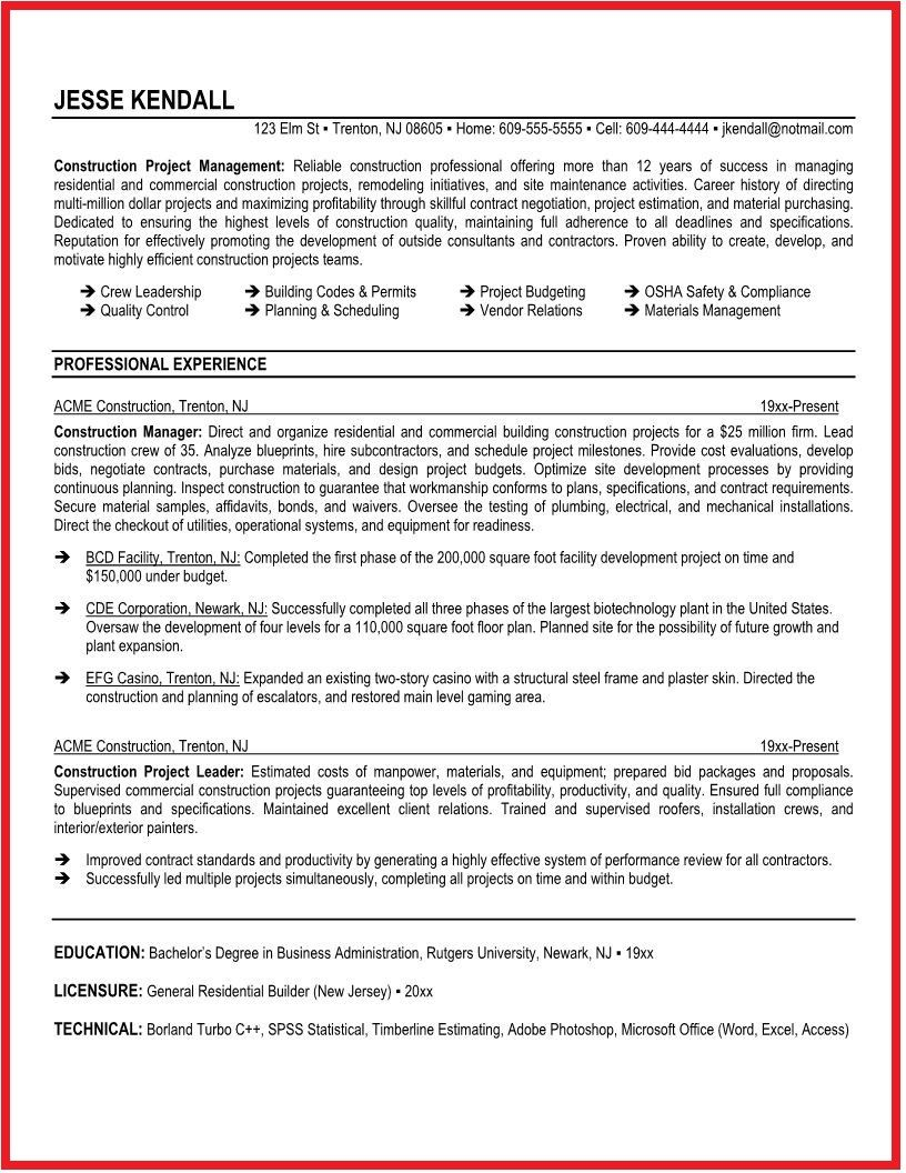 Construction Supervisor Resume Sample Ideas  HttpWwwJobresume