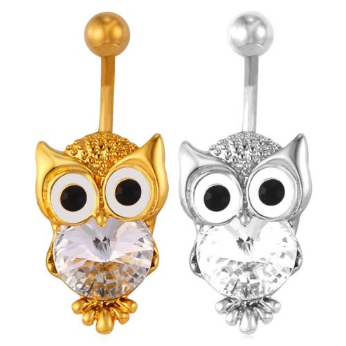 Owl-Shaped-18K-Gold-Plated-Navel-Crystal-Belly-Button-Ring-Body-Piercing-Jewelry