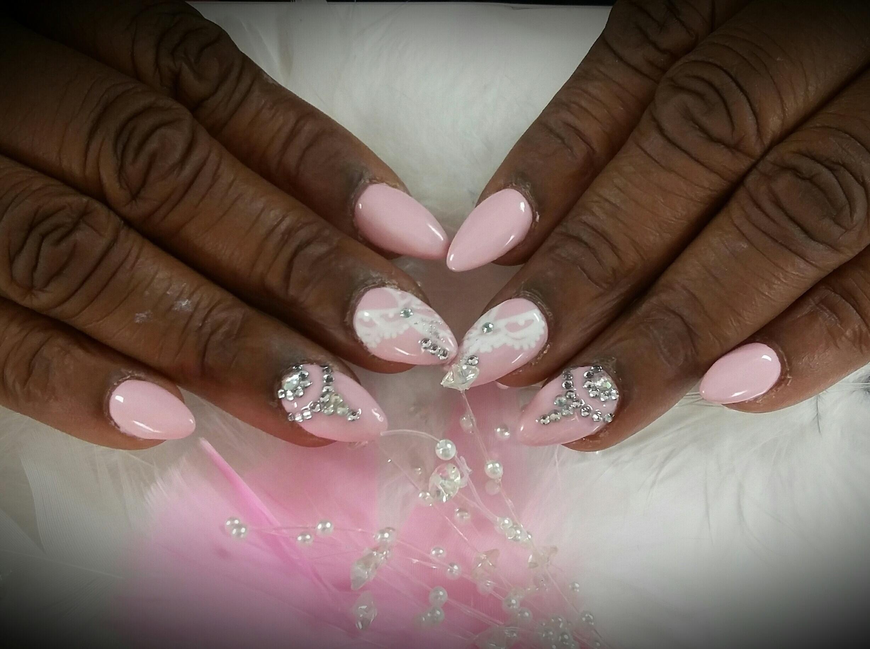 46 Diamond & Lace: Almond shaped acrylic nails with pink gel polish ...