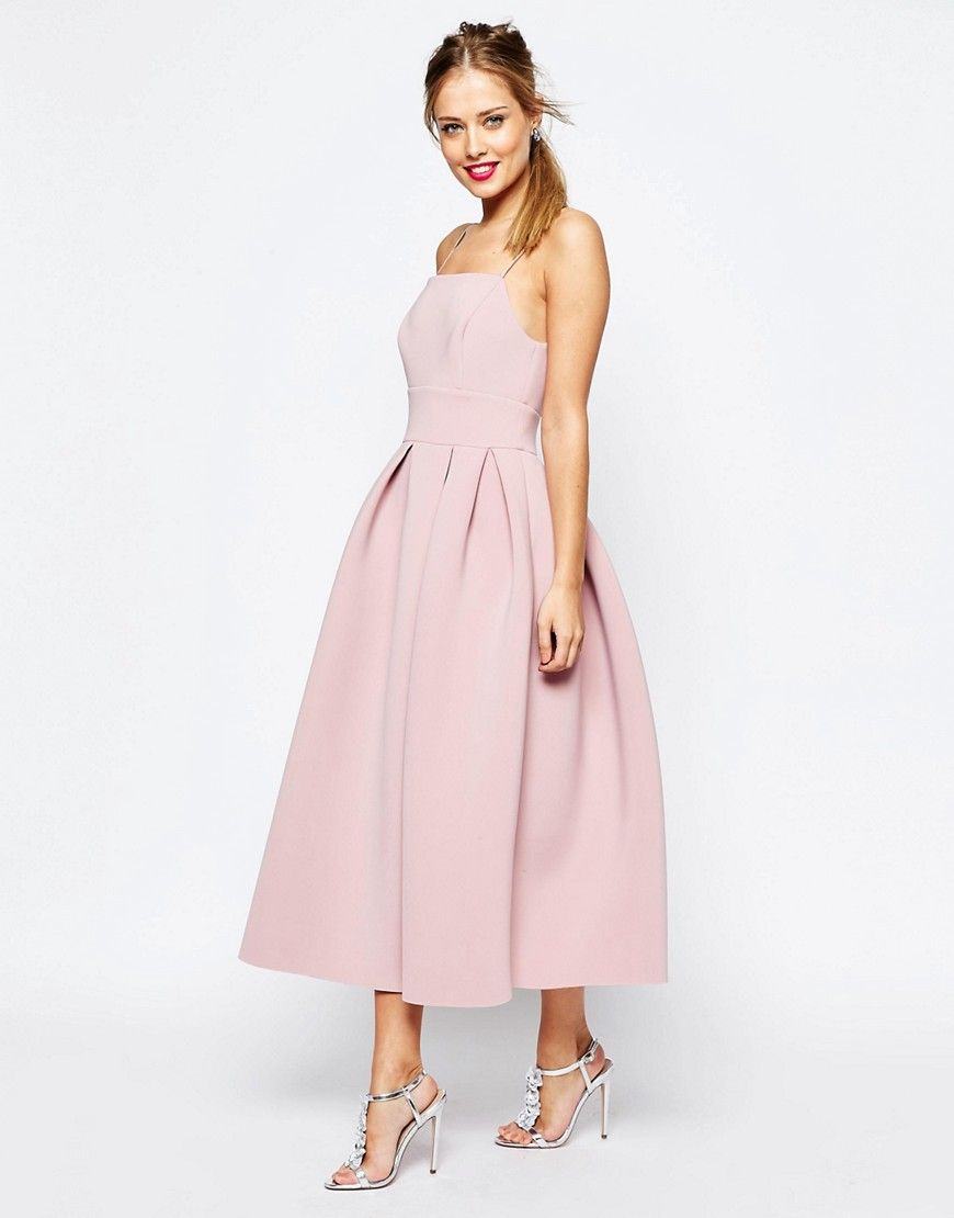 32e358ed66d Image 4 of ASOS SALON Strappy Pinny Scuba Prom Midi Dress