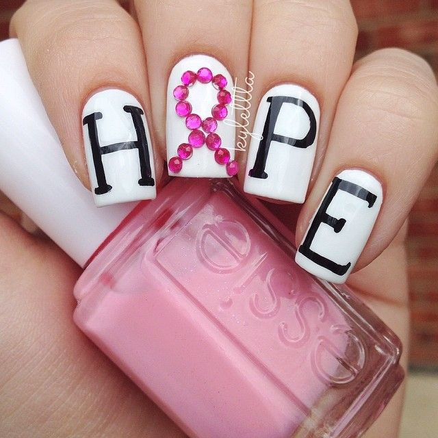Kylettta Breast Cancer Awareness Nail Nails Nailart Things I Love Breast Cancer Nails