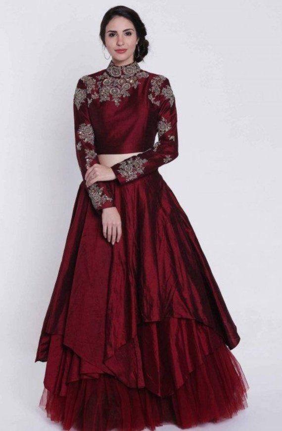 cd08fd15c8 Beautiful maroon raw silk and net layered hand Embroidered lehenga choli  Indian wedding wear