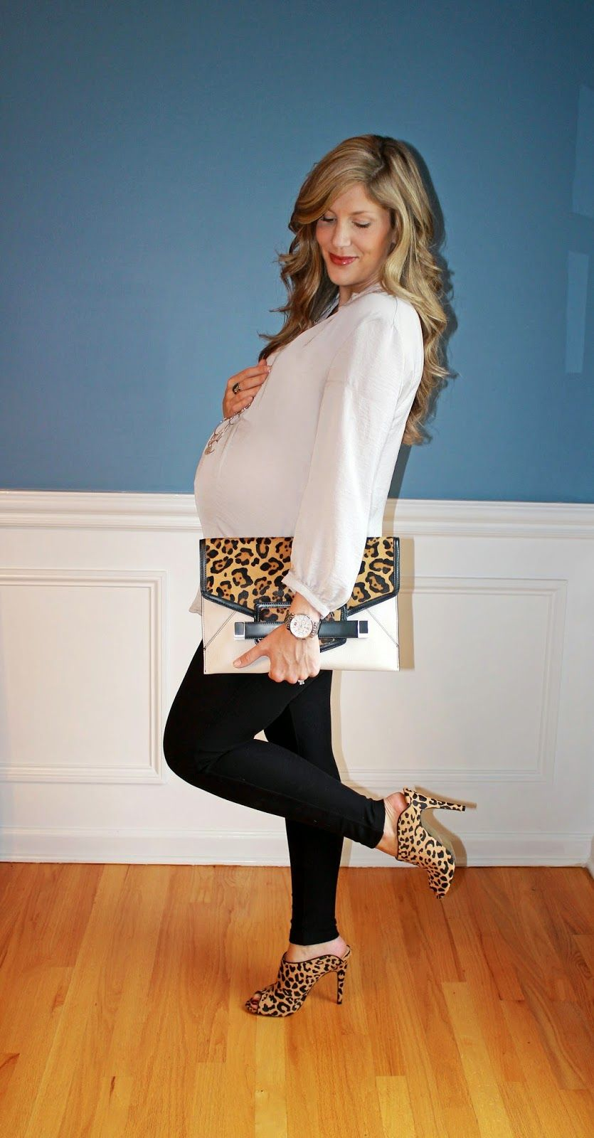 ef51262d974 Outfitted411  Mule Heels...maternity fashion leggings leopard print ...