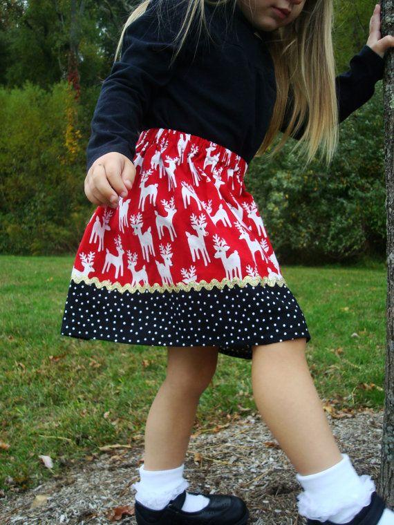 Red Reindeer Christmas  Skirt  12 mos 18 mos24 by wickedcutekidz, $15.00
