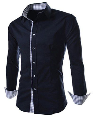 Slimming Trendy Turn-down Collar Checked Print Splicing Long Sleeves
