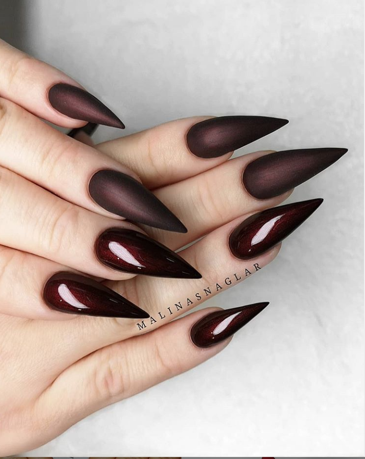 60 Trendy Burgundy Acrylic Coffin Nails Design You Should Try Coffin Nails Designs Stiletto Nails Designs Stiletto Nail Art