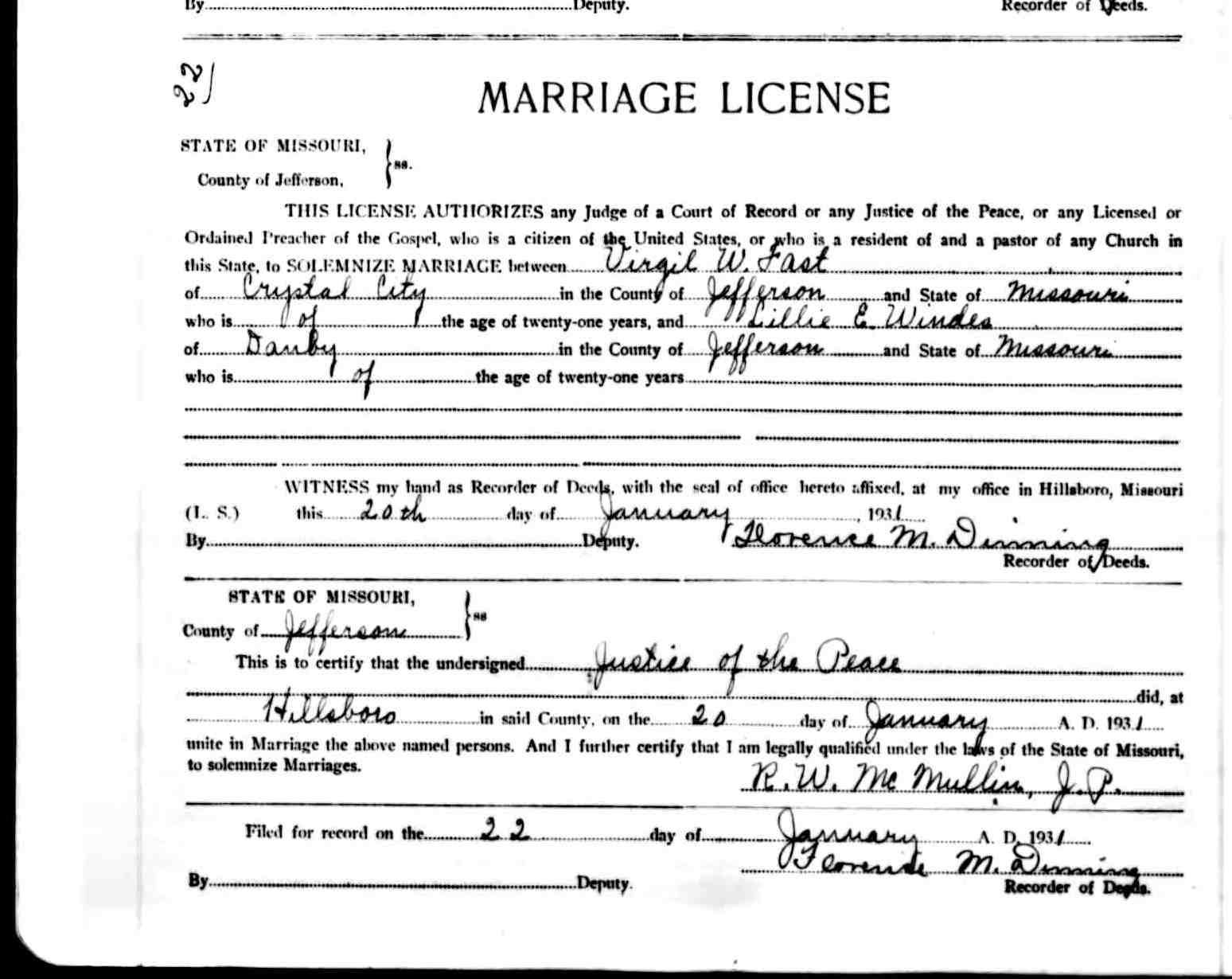 Missouri Marriage License Certificate Some People Only Want Their