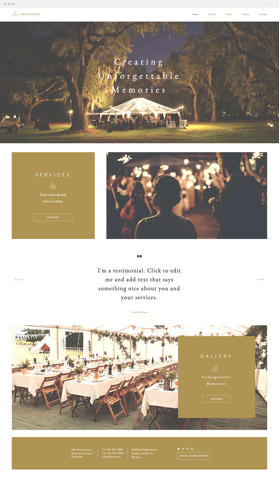 Event Planners Website Template Event planner website