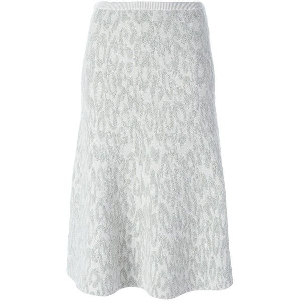 Theory Leopard Jacquard Knit Skirt ($521) ❤ liked on Polyvore featuring skirts, grey, leopard print skirt, grey skirt, gray skirt, grey knit skirt and leopard skirt